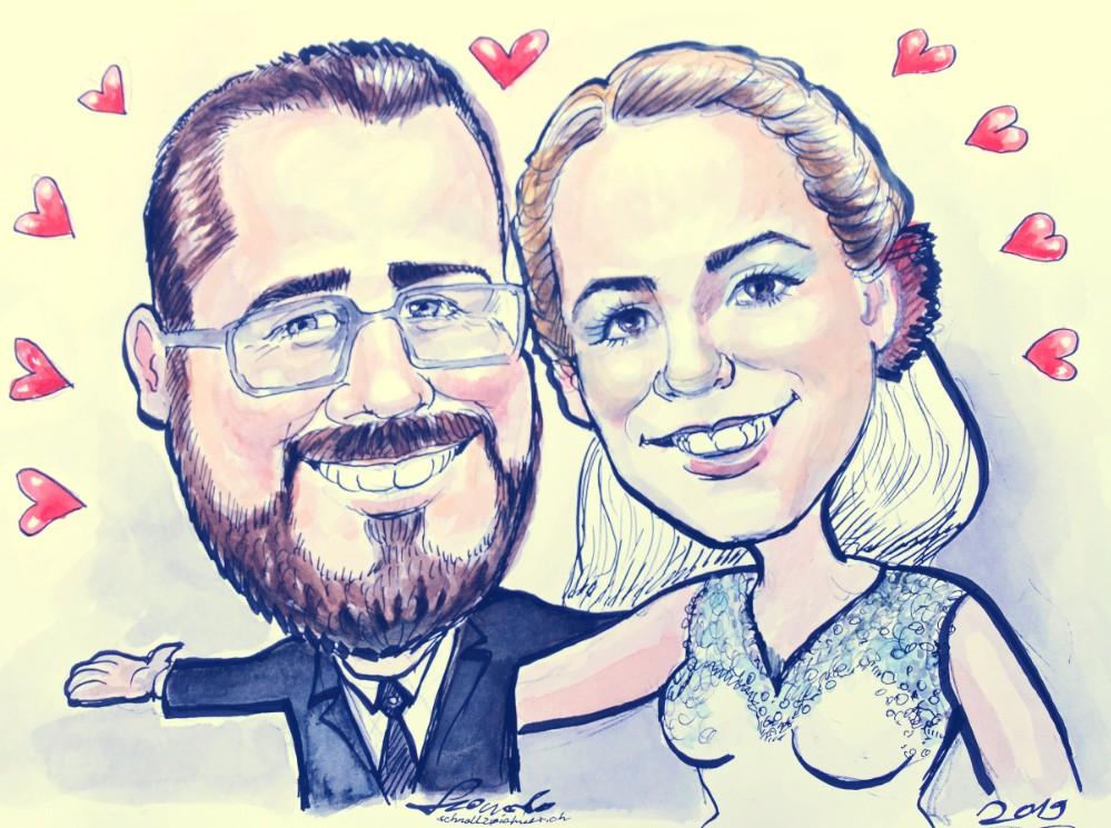 hochzeit karikaturist zuerich bern basel olten aarau karikatur Bild Hochzeitsbild Hochzeitsfoto vom foto zeichnen lassen