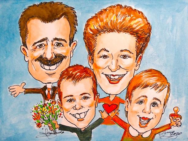 portrait-karikatur-zeichnen-nach foto-katze nach fotos-hund-zeichnen-lassen-familien-karikaturen-schnellzeichner-bern